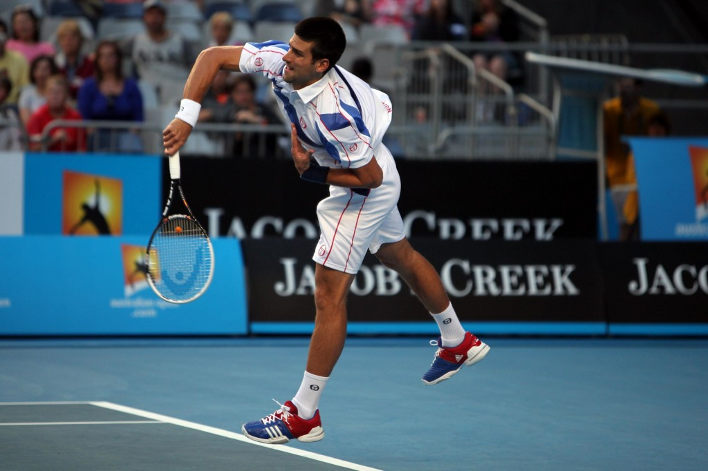Novak Djokovic serving at Australian Open