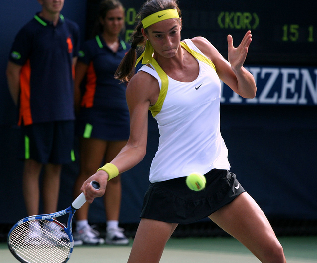 Caroline Garcia forehand at the US Open