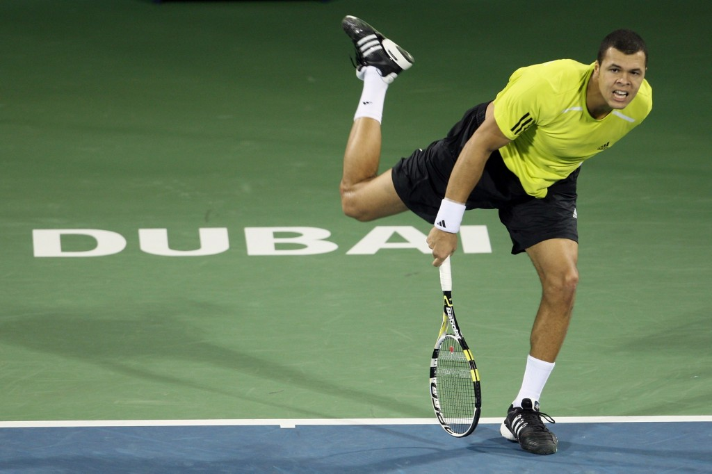Jo-Wilfried Tsonga at the Dubai Open