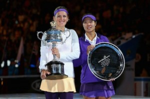 2013 Australian Open Trophies Victoria Azarenka and Li Na
