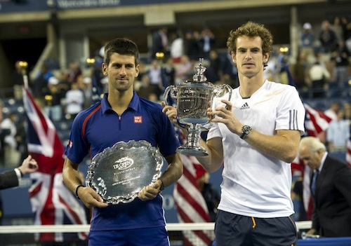 Novak Djokovic runner-up (left) and Andy Murray champion (right)