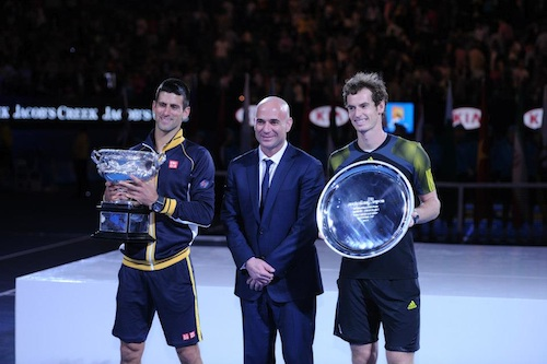 Novak Djokovic, Andre Agassi and Andy Murray at 2013 Australian Open